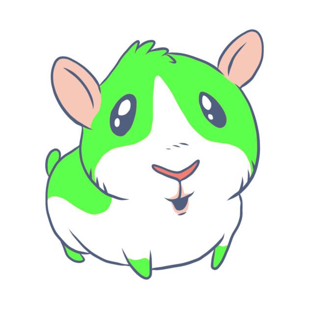 Cute Kawaii Cartoon Green Guinea Pig Animal Lover Design