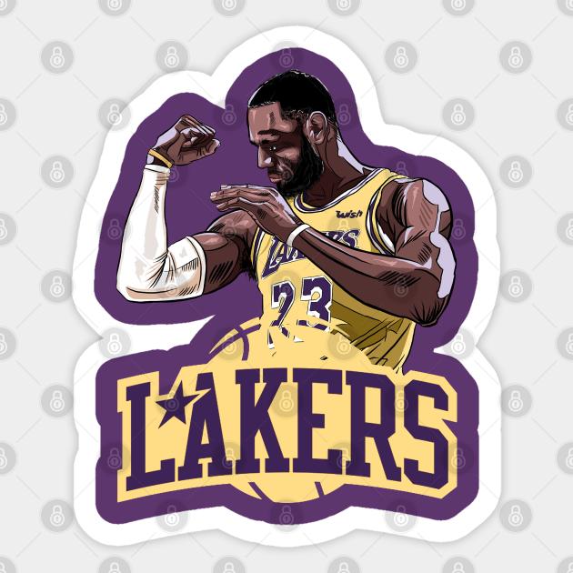 Lebron James Shirt Los Angeles La Lakers Art Drawing Basketball Fan 23 Nba Purple Lebron James Basketball Player Sticker Teepublic