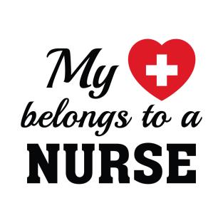 Heart Belongs Nurse t-shirts