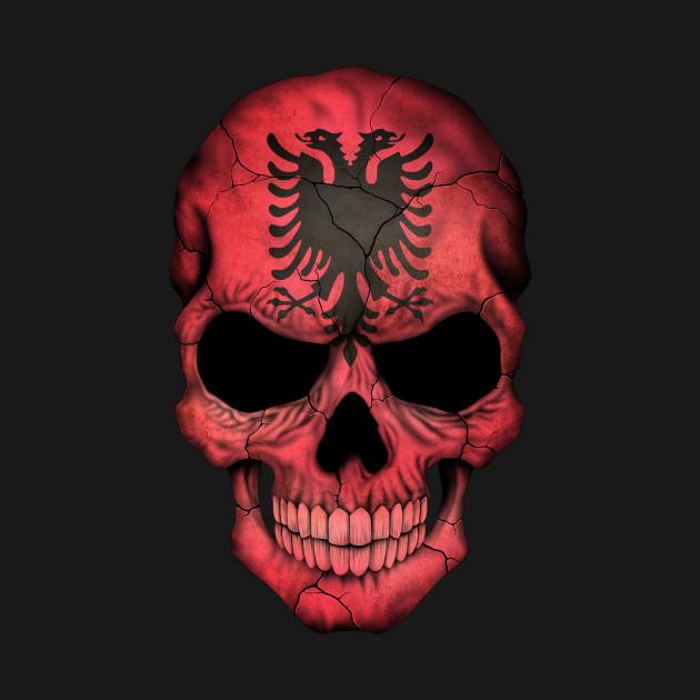 Albanian Flag Skull Albania TShirt TeePublic - Albania flag