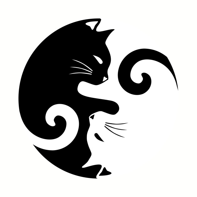Ying Yang Cats - Black and white