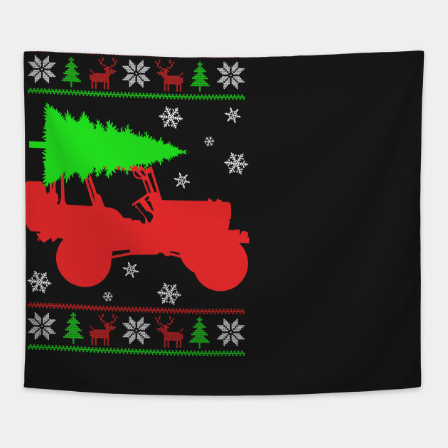 Christmas Jeep Silhouette.Santa S Jeep Ugly Sweater Christmas Tree
