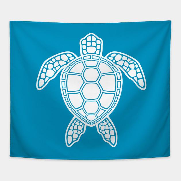 Green Sea Turtle Design White Sea Turtle Tapestry Teepublic