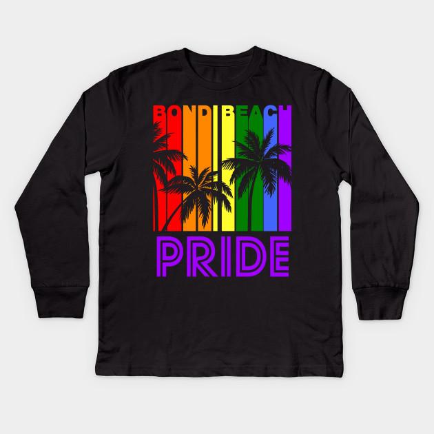9bdff3dc3c Bondi Beach Pride Gay Pride LGBTQ Rainbow Palm Trees Kids Long Sleeve T- Shirt