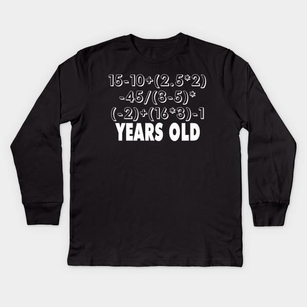 12 Years Old 12th Birthday Math Shirt Kids Long Sleeve T
