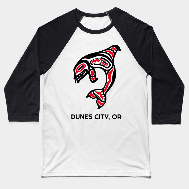 Dunes city, Oregon Red Orca Killer Whales Native American Indian Tribal Gift Baseball T-Shirt