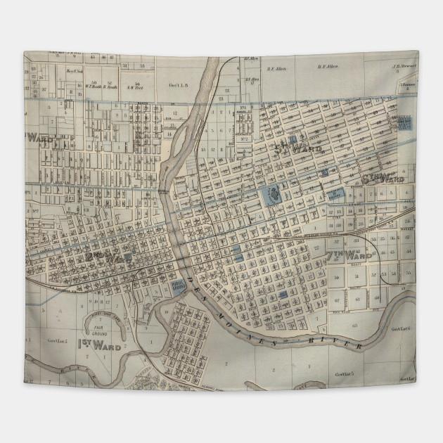 Vintage Map of Des Moines IA (1875)