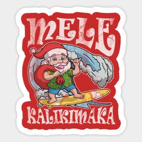 mele kalikimaka hawaiian christmas sticker