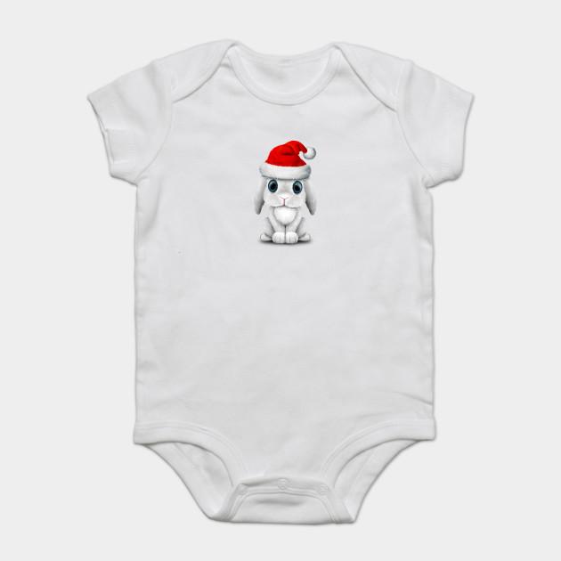 e3f6085bb White Baby Bunny Wearing a Santa Hat