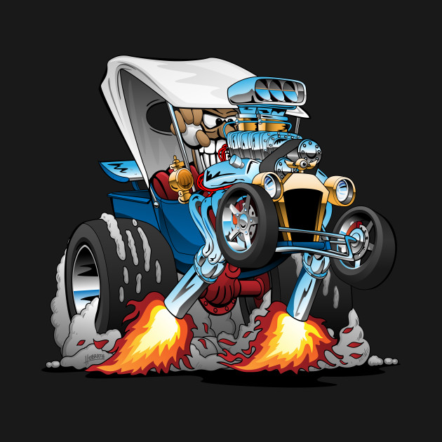 Custom T-bucket Roadster Hotrod Cartoon Illustration
