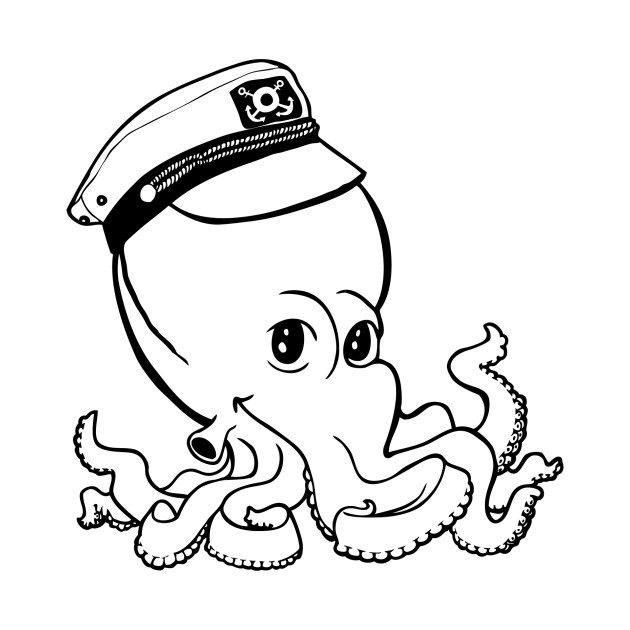 Captain Octopus for Light Shirts