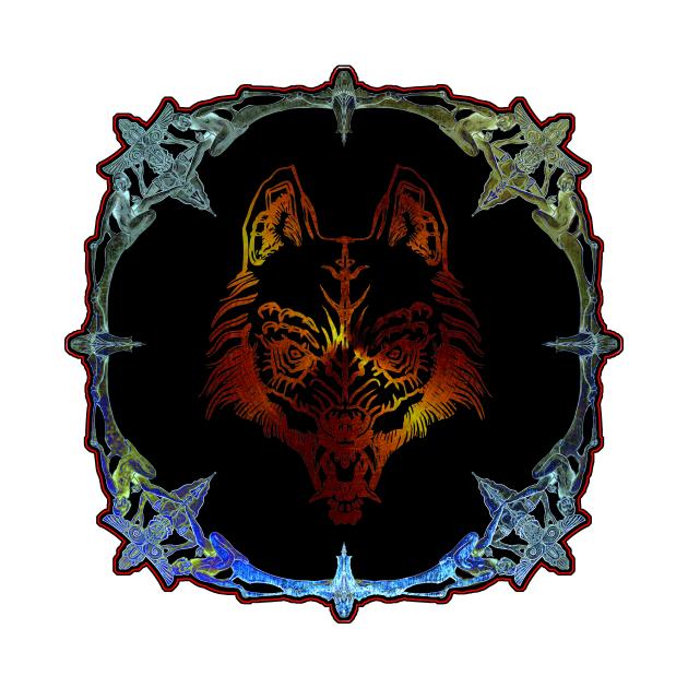Wolf Mask In Fantasy Jewlery Frame