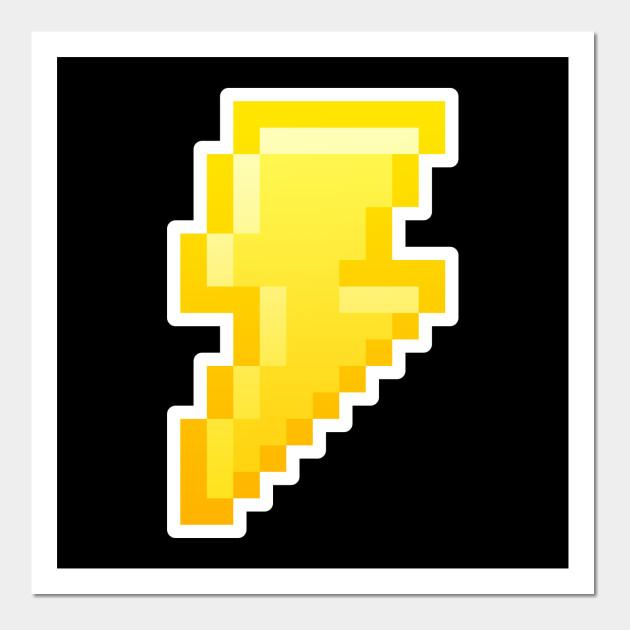 Pixel Lightning Bolt - Lightning Bolt - Wall Art | TeePublic
