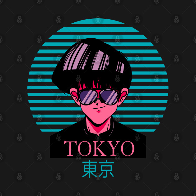 Anime Boy - Tokyo Japanese Text - Kawaii Art Illustration