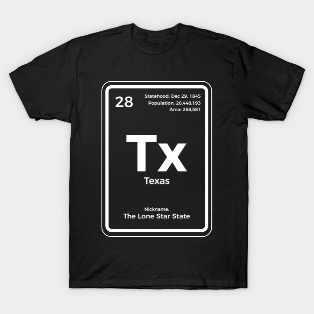 Texas Periodic Table T Shirt Lone Star State Gifts T Shirt Texas