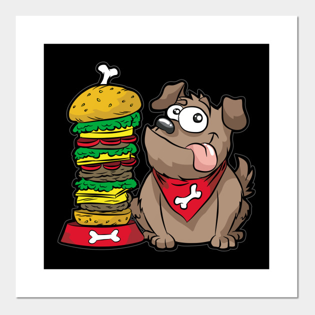 HAPPY DOG WITH HAMBURGER Fastfood Puppy Doggie