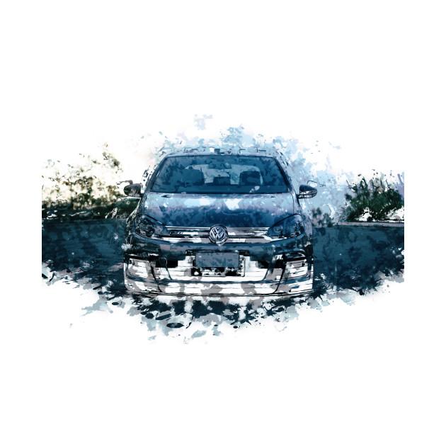 VW Golf R - Watercolour