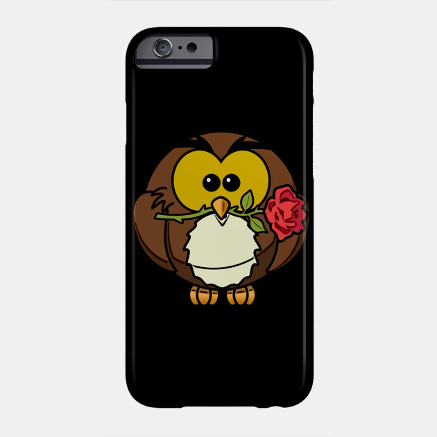 romantic owl with rose, cute owl, valentine's day Phone Case