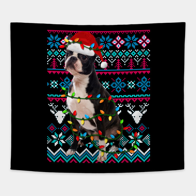 Boston Terrier Christmas Sweater.Boston Terrier Ugly Christmas Sweater Funny Holiday T Shirt
