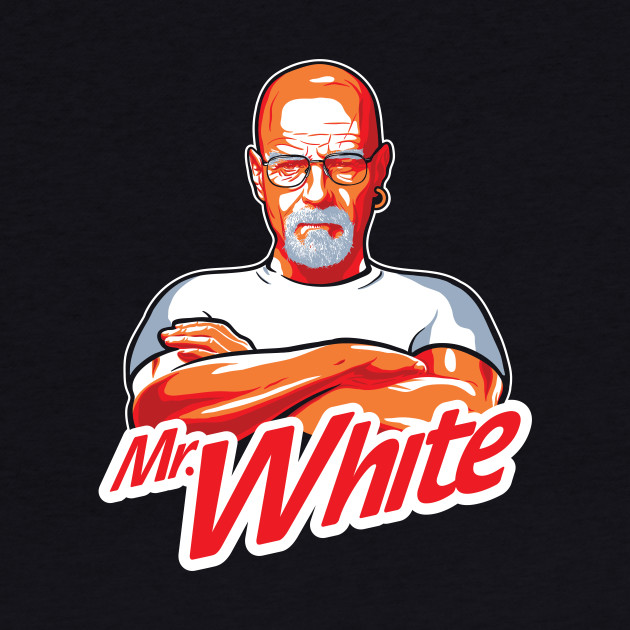 Mr. White on a dark tee
