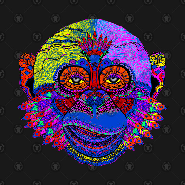 e66c9d72daeef Multicolored Pop Art Monkey Face with Feathers - Monkey - Tank Top ...
