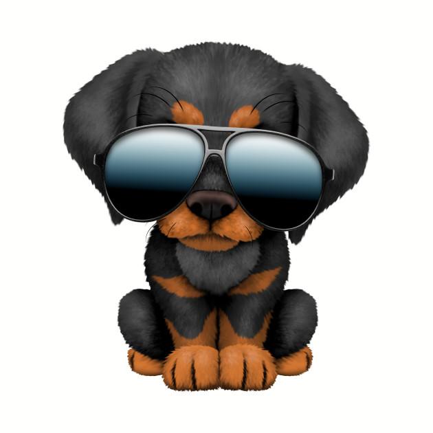Cute Doberman Puppy Dog Wearing Sunglasses
