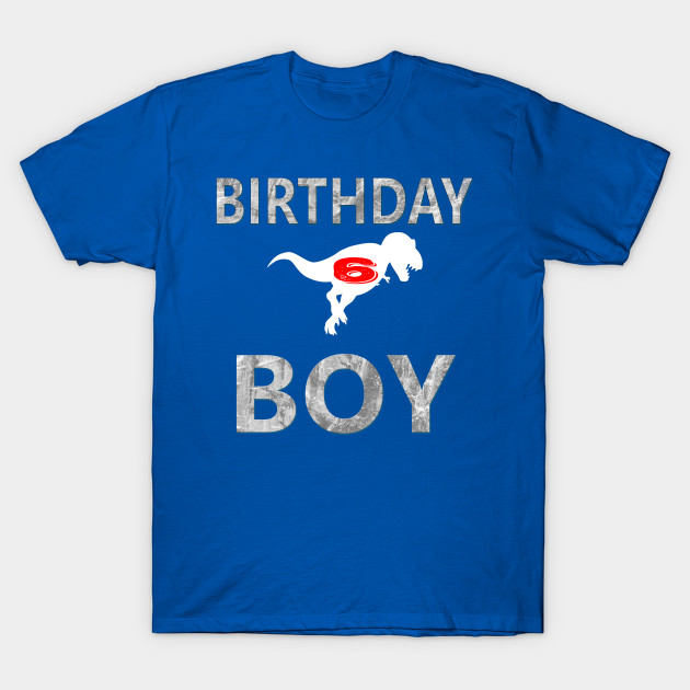 6th Birthday Shirt Boy Age 6 Dinosaur Theme T