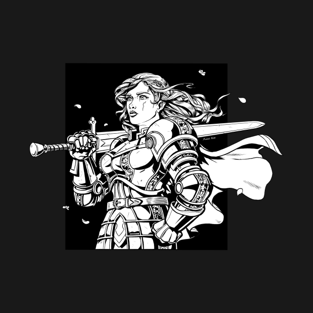Woman in Armor with Sword - Paladin Drawing