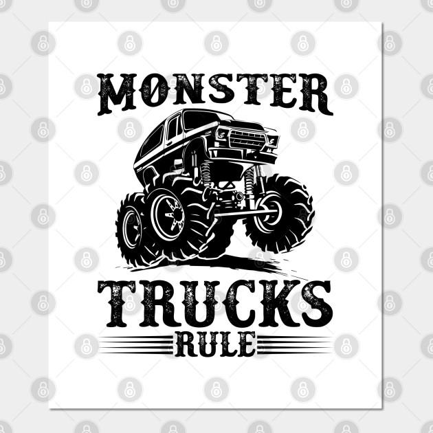 Monster Trucks Rule Monster Truck Jumping Affiche Et Impression D Art Teepublic Fr