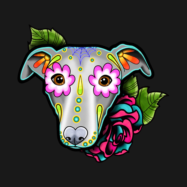 Greyhound - Whippet - Day of the Dead Sugar Skull Dog