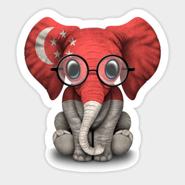Baby Elephant with Glasses and Singapore Flag