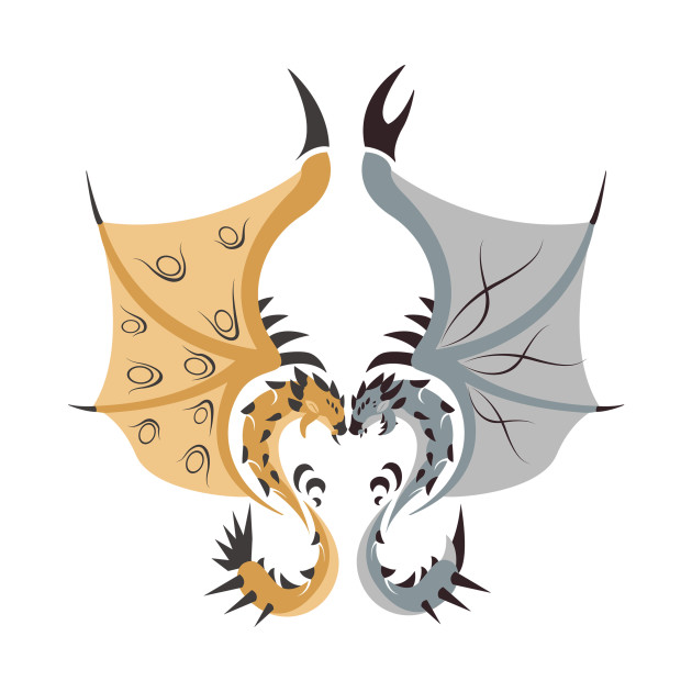 Heaven and Earth - Gold Rathian & Silver Rathalos ... Gold Rathian And Silver Rathalos