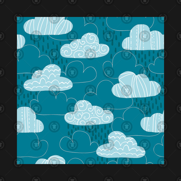 Raindrops And Cute Seamless Clouds Pattern