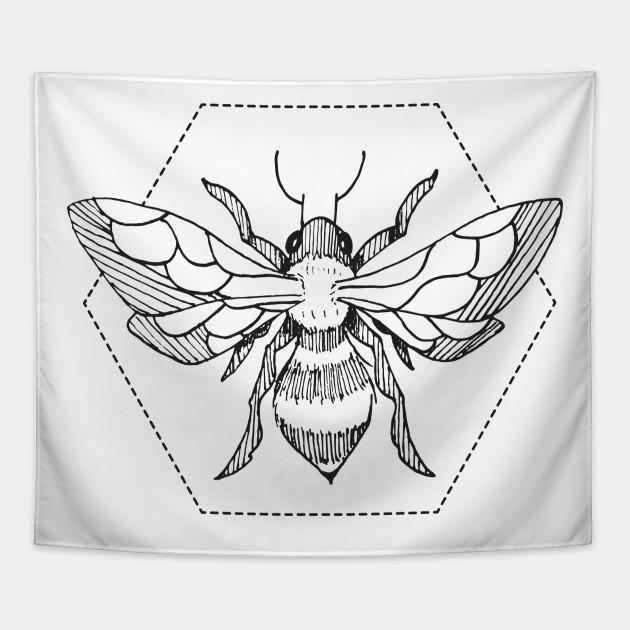 dafc0247 Pen & Ink Bee Tattoo - Bees - Tapestry | TeePublic