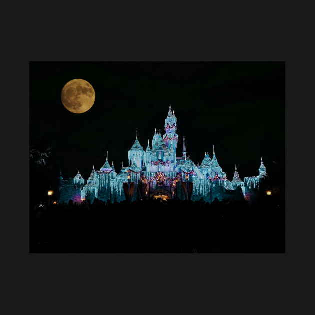 Disneyland with a full moon