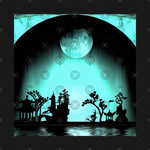 Asia night silhouettes