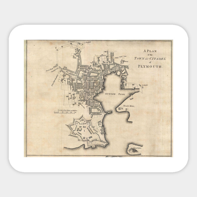 Vintage Map Of Plymouth England 1765 Plymouth Map Sticker