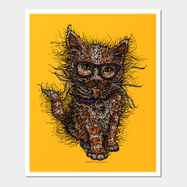 Pusstache Cute Hipster Kitty Cat Mustache & Glasses - Cats - Wall ...