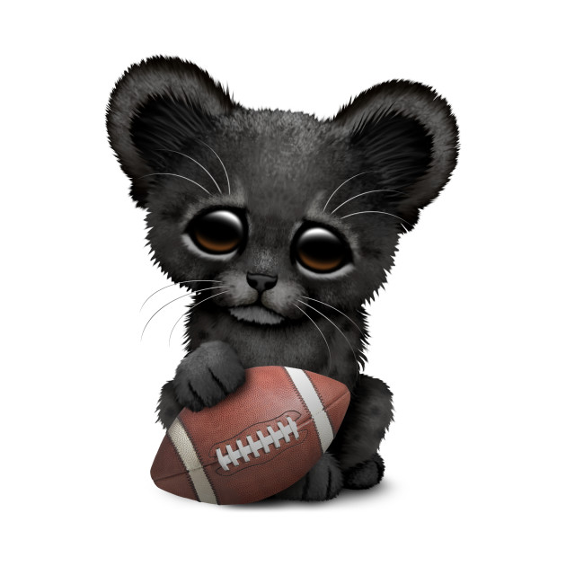 Black Panther Cub Playing With Football