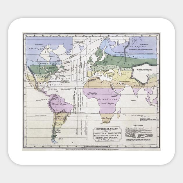 Vintage world climate map 1823 world map sticker teepublic 1892328 1 gumiabroncs Choice Image