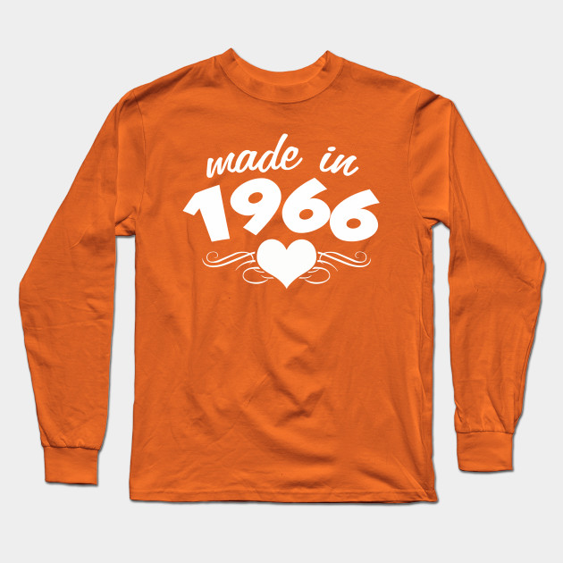 50th Birthday Gifts For Women Made In 1966 Heart Design 50 Shirt Long Sleeve T