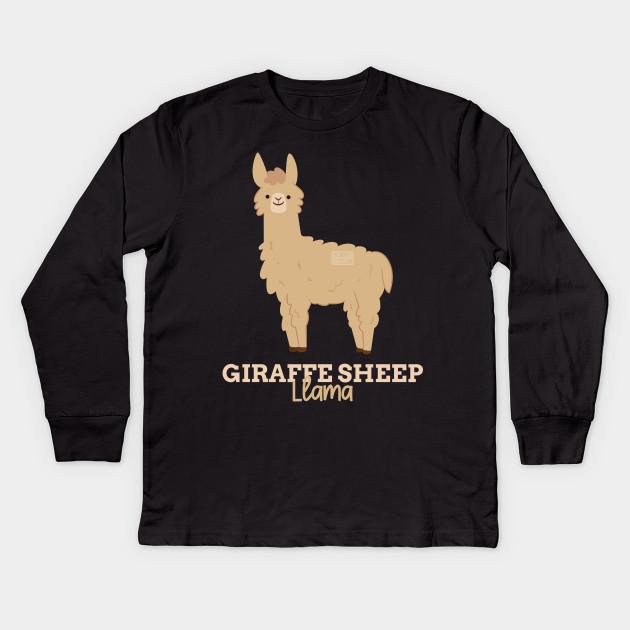 e1b9193e Funny Animal Name Meme Giraffe Sheep LLAMA Kids Long Sleeve T-Shirt