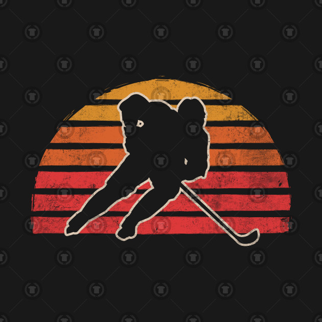 Retro Vintage Ice Hockey Silhouette Gift For Skater