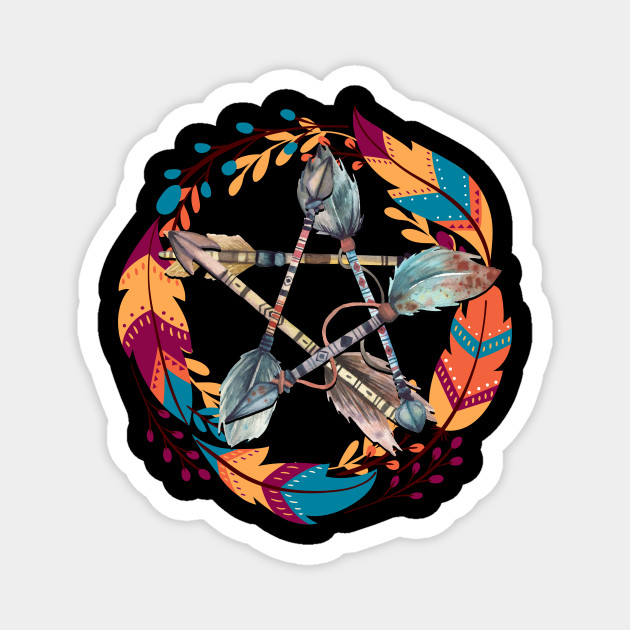 Boho pentacle or pentagram of the ancestors