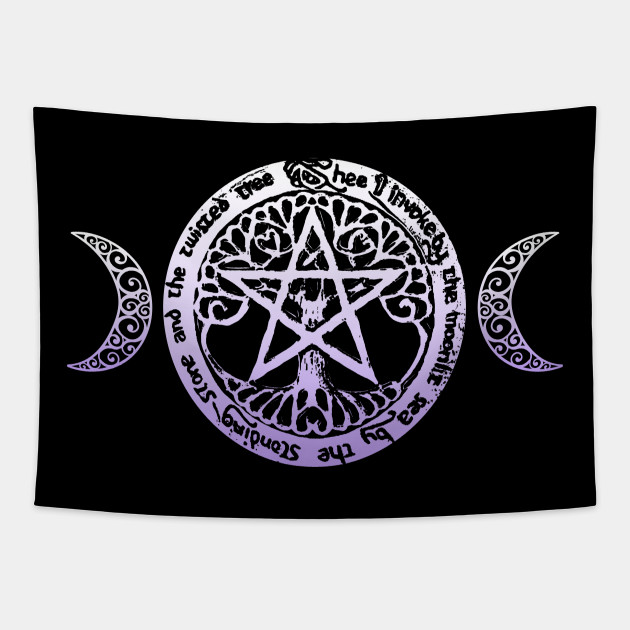 Wiccan & Pagan Sacred Gifts Nature Pentacle Tree of Life and Crescent Moons
