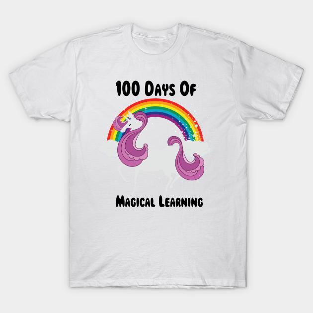 Happy 100 Days Of School Shirt Girls Unicorn Lover Gift T-Shirt