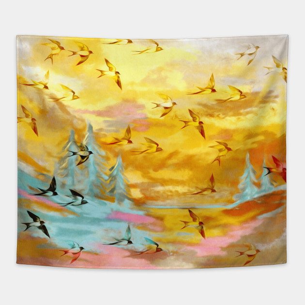 Abstract Landscape with Swallows at Sunset