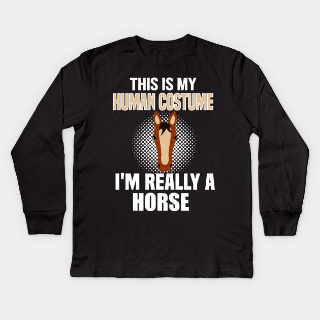 7611249796f Horse costume T shirt Tee for Men, Women, Teens and Kids Kids Long Sleeve T- Shirt