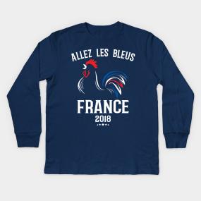World Cup Champions France Soccer Football 2018 Allez Les Bleus Kids Long  Sleeve T-Shirt 4c045fc3f