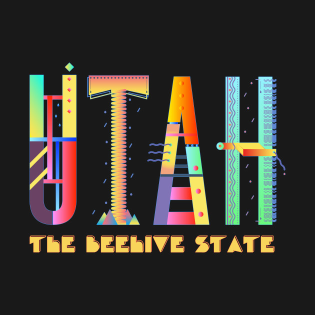 Utah, the Beehive State - fun, funky, colorful design